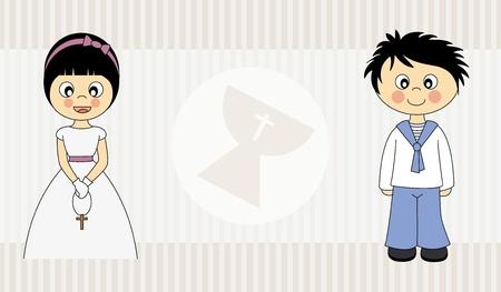 Eerste Heilige Communie uitnodigingskaart voor jongen en meisje Stock Illustratie