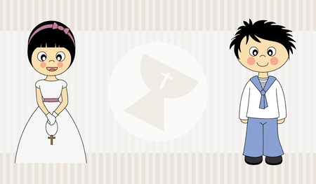 First Communion Invitation Card  Boy and  Girl