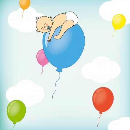 sleeps: A child sleeps on a balloon  birth Card