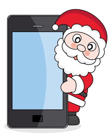 Christmas card Santa Claus with mobile phone
