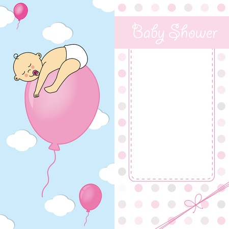 Child sleeping on top of a balloon  baby girl birth card Vector