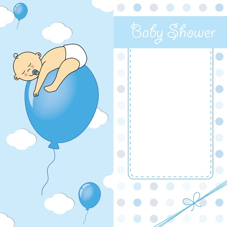 baby boy birth: Child sleeping on top of a balloon  baby boy birth card Illustration
