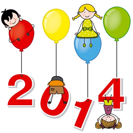 New year 2014  Children playing with the numbers and balloons Stock Vector - 22552561