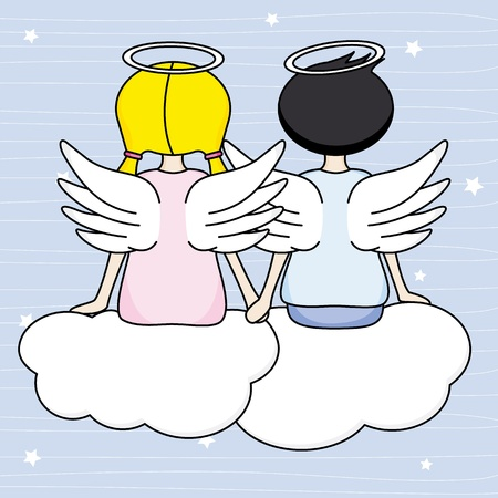 Angels sitting above the clouds  Vector