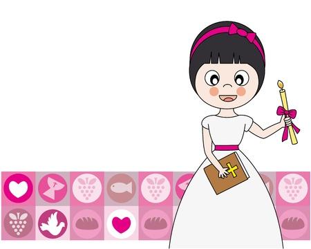 primera comunion: Primera muchacha de la comunión Tarjeta de Invitación
