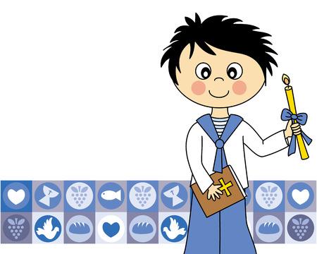 First Communion Invitation Card  boy Illustration