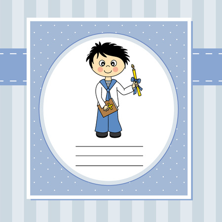 First Communion Invitation Card  boy Vector