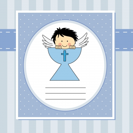 sacramento: Boy first communion card  Angel in the holy grail