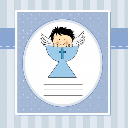 comunion: Niño de primera comunión Ángel tarjeta en el santo grial