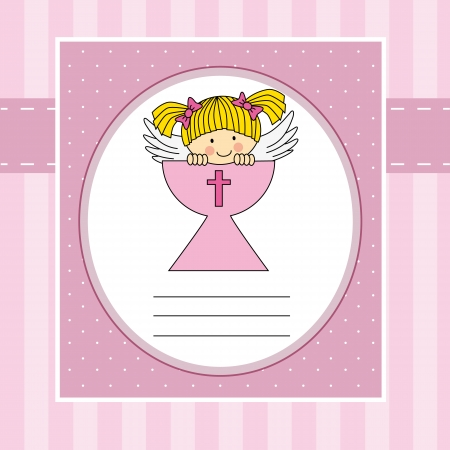Girl first communion card  Angel in the holy grail Vector