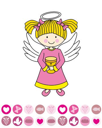 primera comunion: Niña primera comunión ángel con un cáliz Vectores