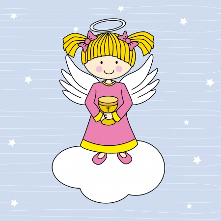 Girl first communion  Angel on a cloud Illustration
