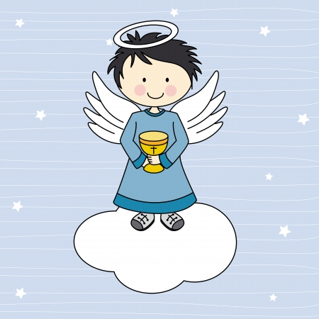 first communion: Boy first communion  Angel on a cloud Illustration