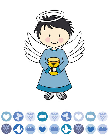 Boy first communion  Angel with a chalice Vector