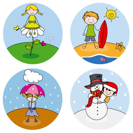 bambini: bambini che mostrano le quattro stagioni