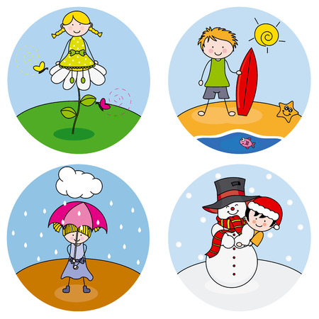 children showing the four seasons  Vector