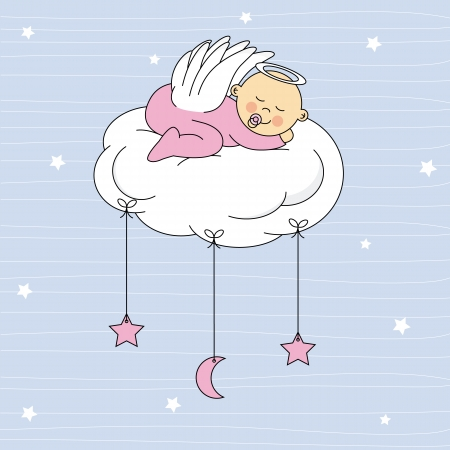 baby sleeping: baby girl sleeping on a cloud  Birthday Card  Illustration