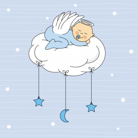 クラウドの誕生日カード上で眠っている赤ちゃんは男の子