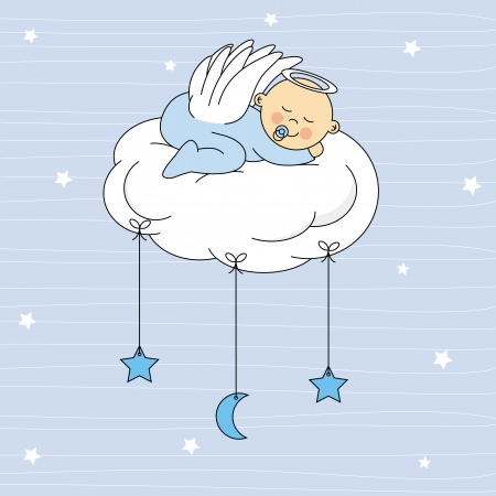 baby sleeping: baby boy sleeping on a cloud  Birthday Card