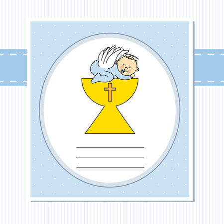 Baby boy in the holy grail  christening card Vector