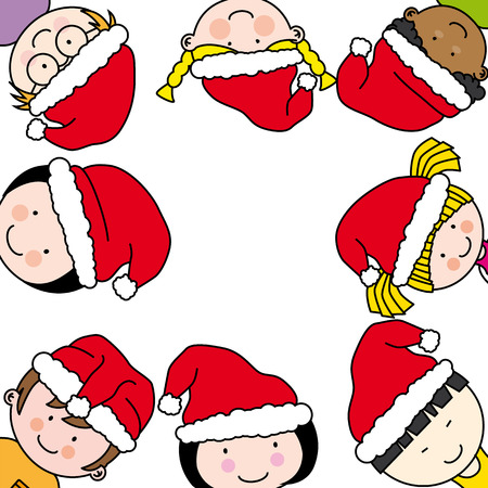 children card with santa claus hat Stock Vector - 22552685