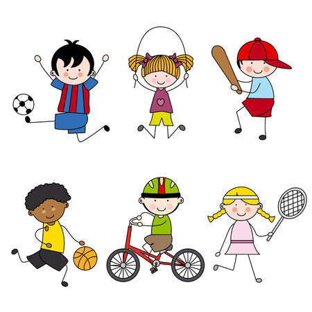 kids football: Set of vector cartoon sport icons