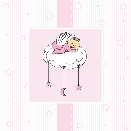 Baby girl in the holy grail  First communion card Stock Illustratie