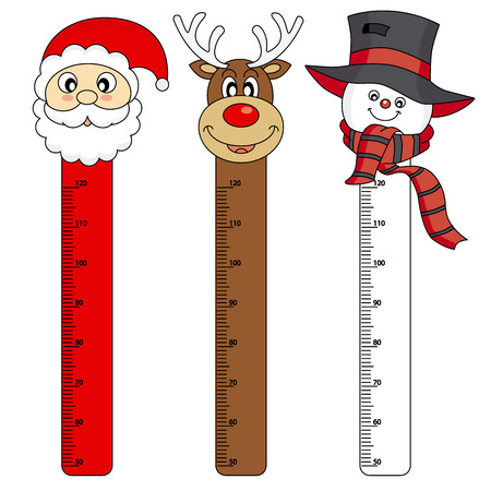 measure height: Bumper children meter wall  Christmas Stickers Illustration