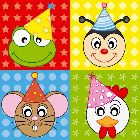 birthday hat: cartoon party animal icons collection