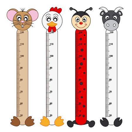 Bumper children meter wall  Animals Stickers Stock Illustratie