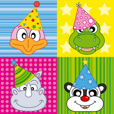 cartoon party animal icons collection  Vector