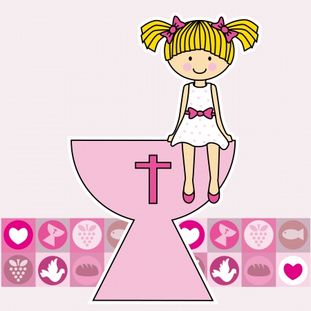 Communion girl  religion Vector