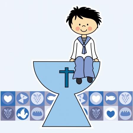 Eerste communie Uitnodiging jongen Stock Illustratie