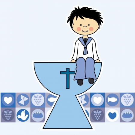 first communion: First Communion Invitation Card  boy Illustration