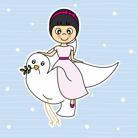 first communion  Girl flying with a dove  Vector