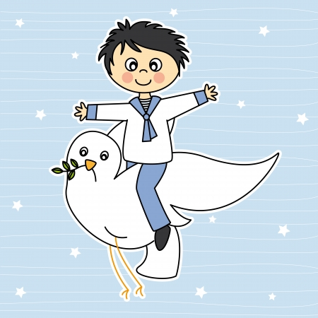 first communion  Boy flying with a dove  Illustration