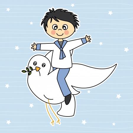 prima comunione: prima comunione Ragazzo volare con una colomba