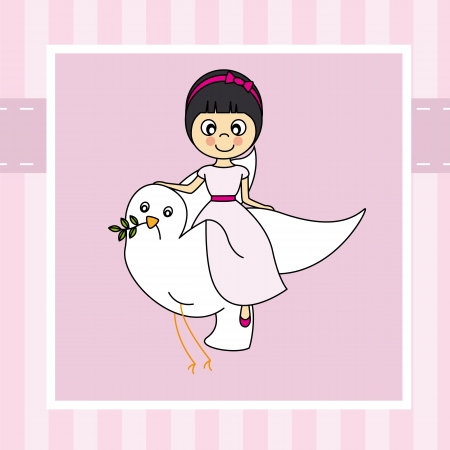 first communion: Girl first communion  Girl flying with a dove Illustration