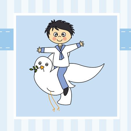 premi�re communion: Boy premi�re communion Gar�on pilotant avec une colombe Illustration