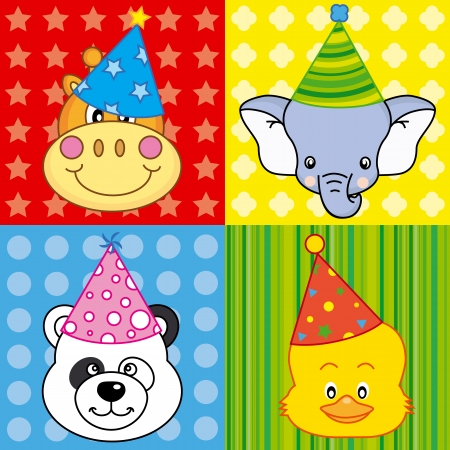 head set: cartoon party animal icons collection