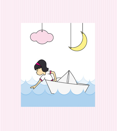 Girl first communion  Girl in a paper boat Vector