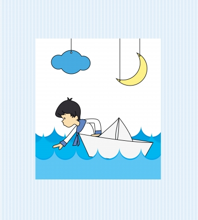 Boy first communion  Boy in a paper boat Vector