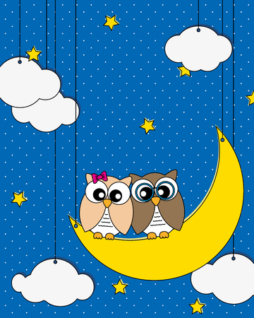 Love card  Owls couple on the moon watching the stars  Vector