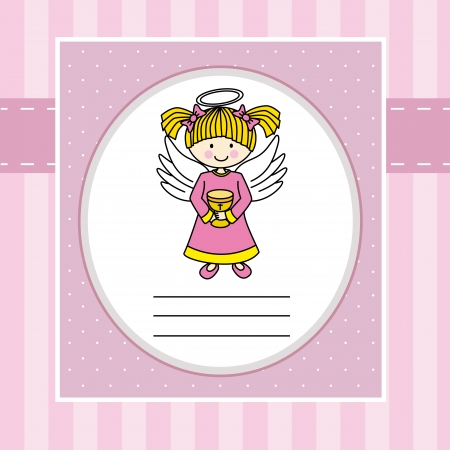 Girl first communion  Angel with a chalice  Vector