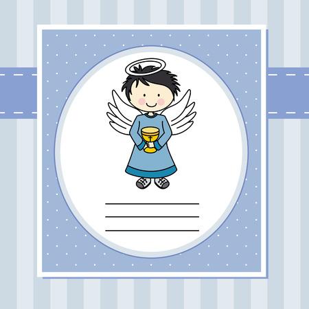 comunion: Niño de primera comunión ángel con un cáliz