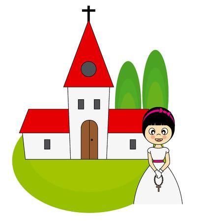 Meisje eerste communie uitnodigingskaart Stock Illustratie