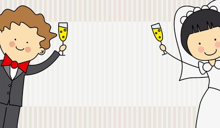 結婚式招待状  イラスト・ベクター素材