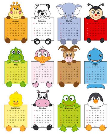 Animal calendar 2014 Stock Vector - 23655395