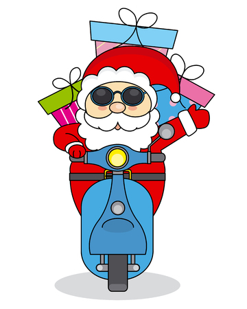 Santa Claus handing out gifts on motorcycle