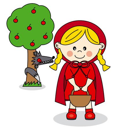 little red riding hood: I bambini Story Cappuccetto Rosso e il Lupo Cattivo Vettoriali